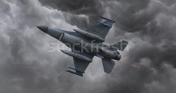 Vadászrepülő repülőgép repülés gyors vihar tűz Stock fotó © michaklootwijk