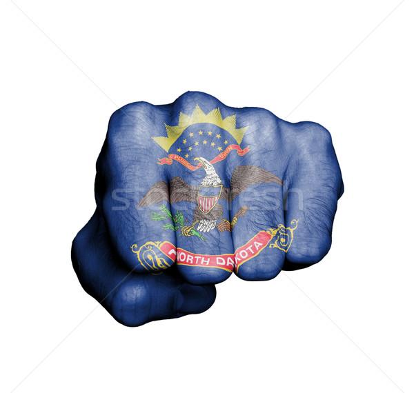 Amerika Birleşik Devletleri yumruk bayrak Kuzey Dakota spor salonu mavi Stok fotoğraf © michaklootwijk