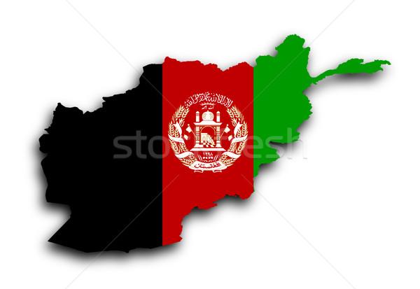 карта Афганистан флаг изолированный ветер белый Сток-фото © michaklootwijk