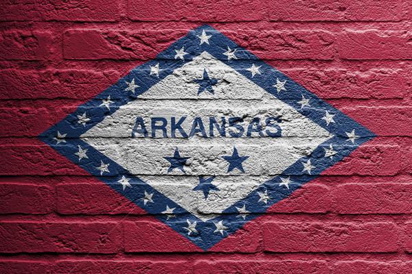 Muur schilderij vlag Arkansas geïsoleerd home Stockfoto © michaklootwijk