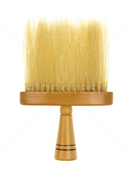 Pelo cepillo barbero aislado blanco madera Foto stock © michaklootwijk