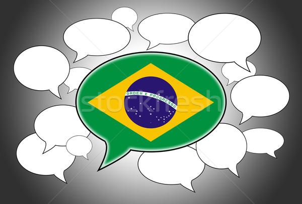 Szövegbuborékok zászló Brazília háttér űr fehér Stock fotó © michaklootwijk