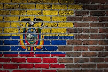 Sötét téglafal jogok Ecuador textúra zászló Stock fotó © michaklootwijk