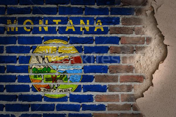 Sötét téglafal tapasz Montana textúra zászló Stock fotó © michaklootwijk