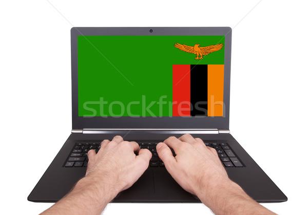 Eller çalışma dizüstü bilgisayar Zambiya ekran Stok fotoğraf © michaklootwijk