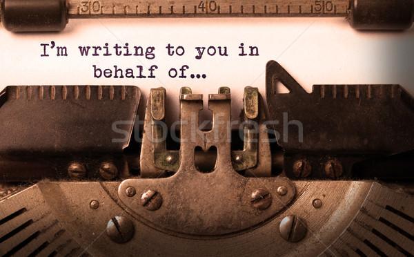 Vintage vieux machine à écrire écrit technologie Photo stock © michaklootwijk