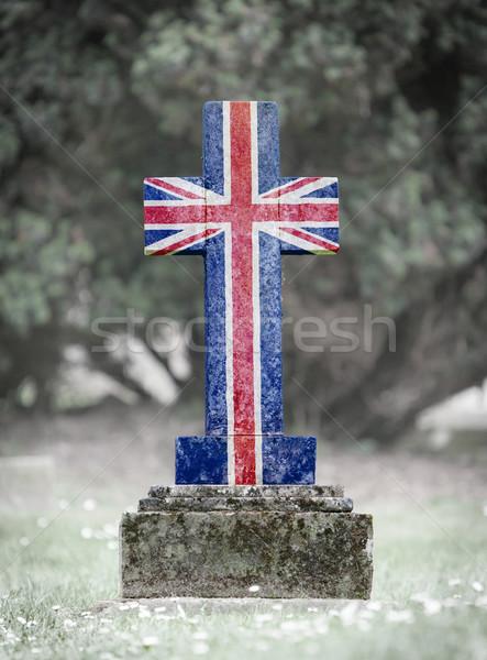 Lápide cemitério Reino Unido velho resistiu grama Foto stock © michaklootwijk