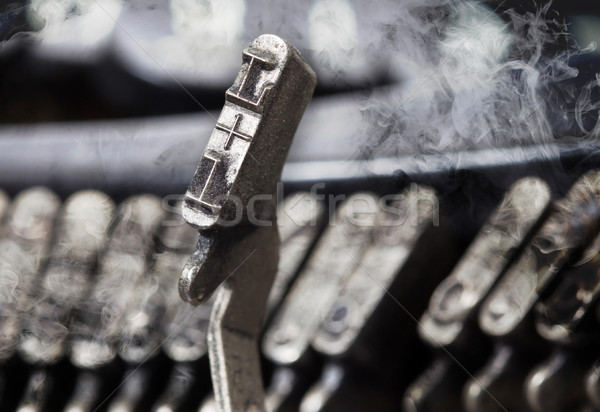 L hammer - old manual typewriter - mystery smoke Stock photo © michaklootwijk