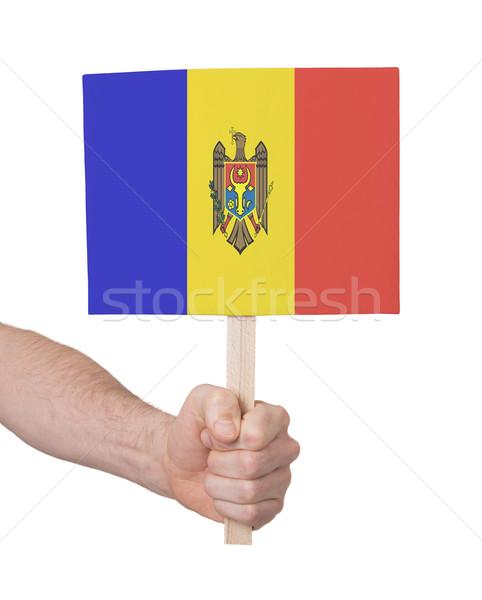 Kéz tart kicsi kártya zászló Moldova Stock fotó © michaklootwijk