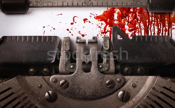 Stock fotó: Véres · jegyzet · klasszikus · felirat · öreg · írógép