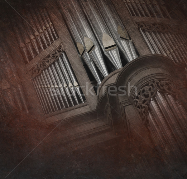 Creepy image of an old pipe organ Stock photo © michaklootwijk