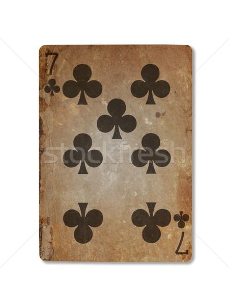 Oude spelen kaart zeven geïsoleerd witte Stockfoto © michaklootwijk
