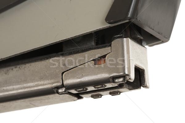 Stock fotó: Közelkép · öreg · rozsdás · klasszikus · tűzőgép · izolált