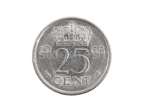 Old dutch coin worth 25 cents - Isolated Stock photo © michaklootwijk