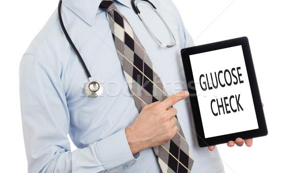 Doktor tablet glikoz kontrol yalıtılmış Stok fotoğraf © michaklootwijk