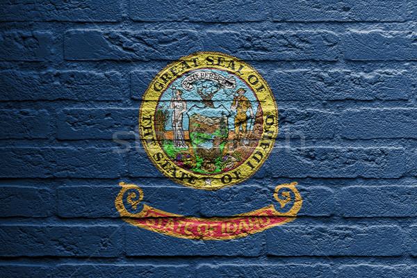 Parede de tijolos pintura bandeira Idaho isolado pintar Foto stock © michaklootwijk