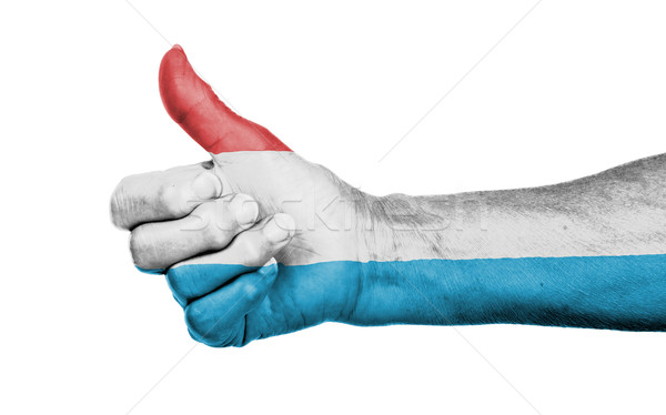 Stockfoto: Oude · vrouw · teken · geïsoleerd · vlag · Luxemburg