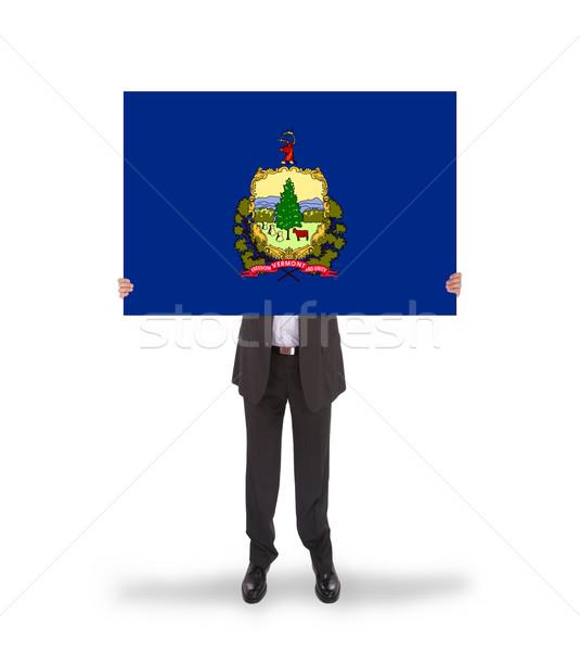 Sonriendo empresario grande tarjeta bandera Foto stock © michaklootwijk