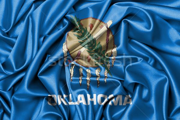 Cetim bandeira tridimensional tornar Oklahoma textura Foto stock © michaklootwijk