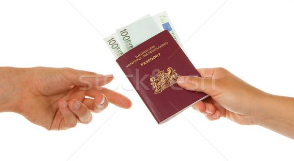 Mujer pasaporte dinero hombre euros vacaciones Foto stock © michaklootwijk