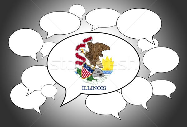 Iletişim konuşma bulut ses Illinois imzalamak bayrak Stok fotoğraf © michaklootwijk