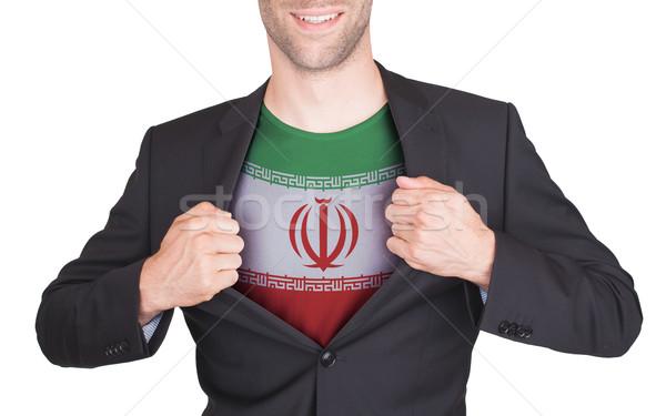 Stock fotó: üzletember · nyitás · öltöny · póló · zászló · Irán