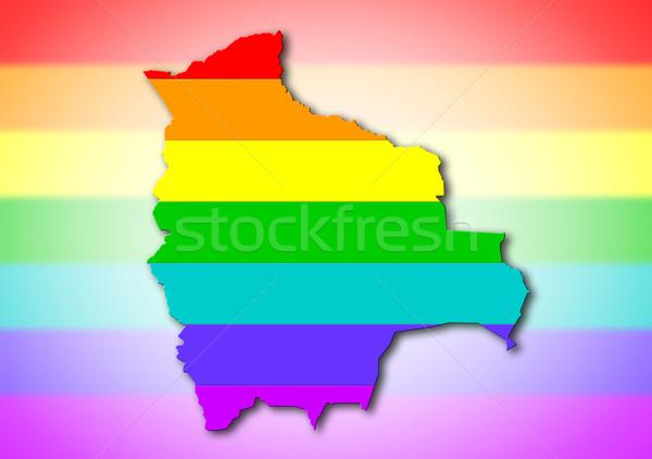 Боливия радуга флаг шаблон карта путешествия Сток-фото © michaklootwijk