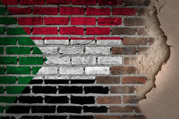 Sötét téglafal tapasz Szudán textúra zászló Stock fotó © michaklootwijk