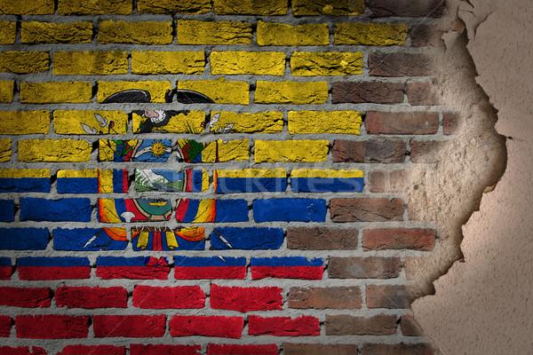 Donkere muur gips Ecuador textuur vlag Stockfoto © michaklootwijk