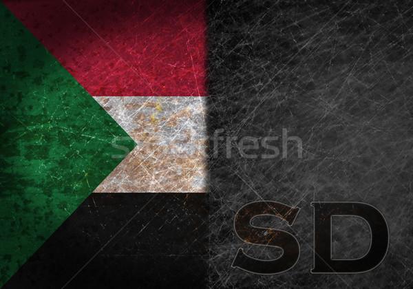 Oude roestige metaal teken vlag land Stockfoto © michaklootwijk