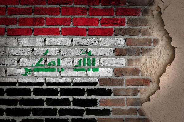 Escuro parede de tijolos gesso Iraque textura bandeira Foto stock © michaklootwijk