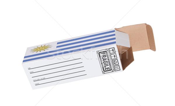 Export termék Uruguay kinyitott papír doboz Stock fotó © michaklootwijk