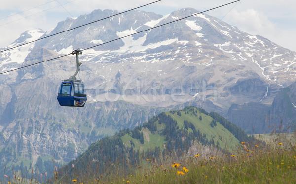 Lenk im Simmental, Switzerland - July 12, 2015: Ski lift in moun Stock photo © michaklootwijk
