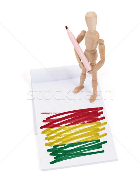 Fából készült próbababa rajz Bolívia zászló toll Stock fotó © michaklootwijk
