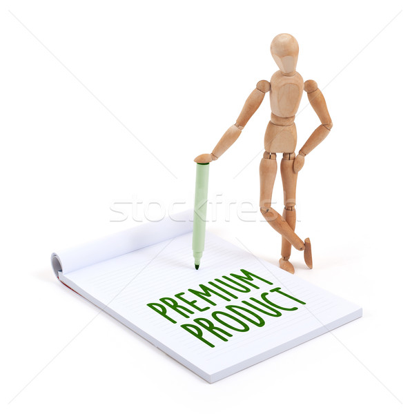 Houten etalagepop schrijven premie product plakboek Stockfoto © michaklootwijk