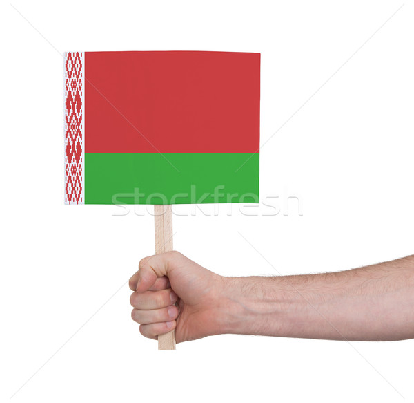 Hand holding small card - Flag of Belarus Stock photo © michaklootwijk