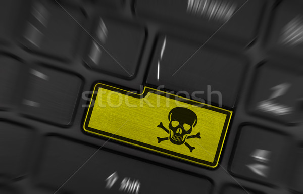 Szimbólum gomb billentyűzet mérgező figyelmeztetés citromsárga Stock fotó © michaklootwijk