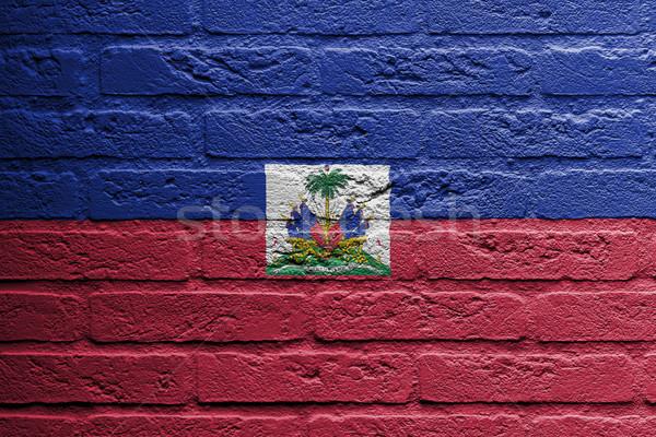 Muro di mattoni pittura bandiera Haiti isolato spazio Foto d'archivio © michaklootwijk