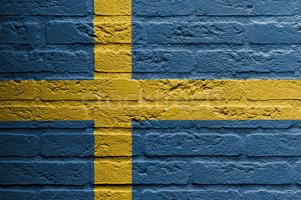Brick wall with a painting of a flag, Sweden Stock photo © michaklootwijk