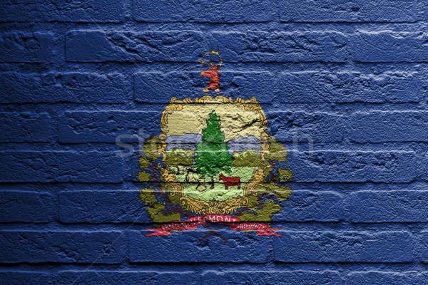 Téglafal festmény zászló Vermont izolált tégla Stock fotó © michaklootwijk