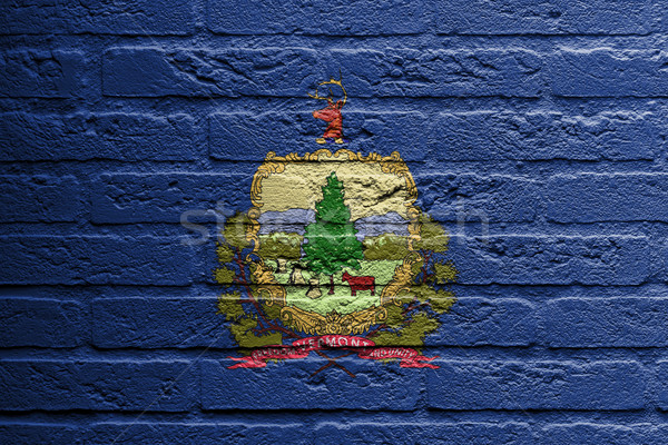 Parede de tijolos pintura bandeira Vermont isolado tijolo Foto stock © michaklootwijk