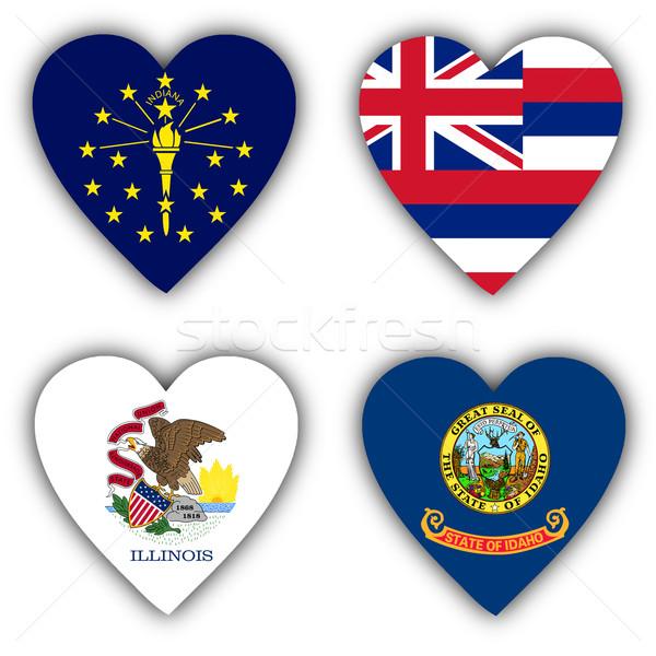 Bayraklar biçim kalp farklı sevmek dünya Stok fotoğraf © michaklootwijk