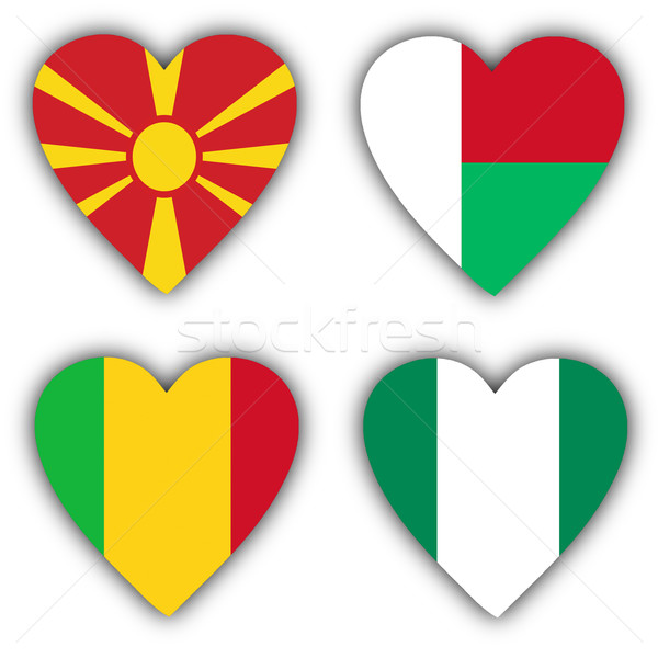Stockfoto: Vlaggen · vorm · hart · verschillend · landen · land