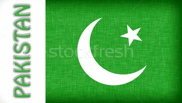 Zászló Pakisztán levelek felirat szövet fehér Stock fotó © michaklootwijk