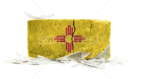 Stockfoto: Baksteen · gebroken · glas · geweld · vlag · New · Mexico · muur