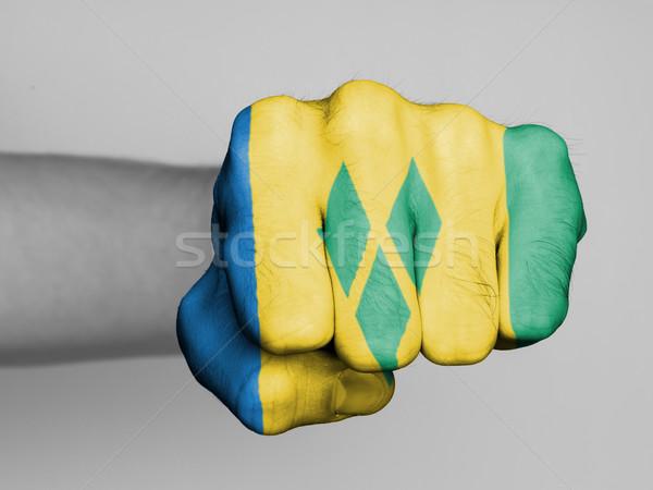 Punho homem bandeira mão esportes Foto stock © michaklootwijk