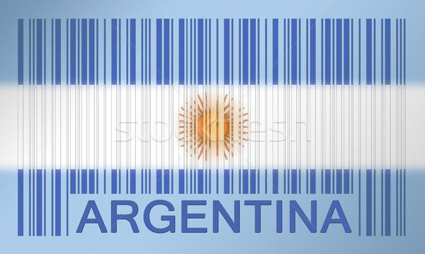 Vonalkód zászló Argentína festett felület terv Stock fotó © michaklootwijk