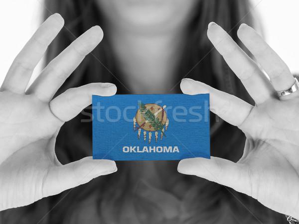 Mulher cartão de visita preto e branco Oklahoma espaço Foto stock © michaklootwijk