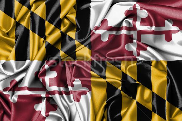 Szatén zászló háromdimenziós render Maryland textúra Stock fotó © michaklootwijk