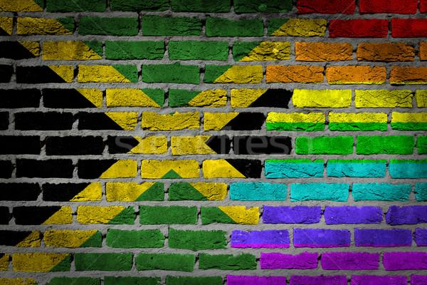 темно кирпичная стена правые Ямайка текстуры флаг Сток-фото © michaklootwijk